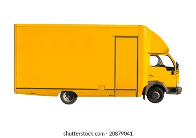 yellow truck isolated on white background