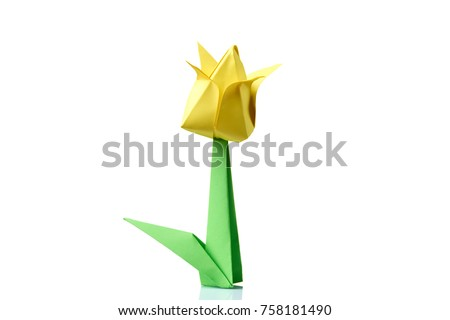 Yellow Tulip Origami Flower Traditional Model Stock Photo Edit Now