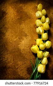 Yellow tulips on a golden background/Yellow tulips