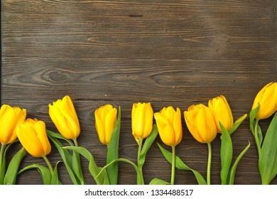yellow tulips in wood background