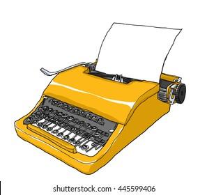 yellow Typewriter vintage art painting  cute illustration