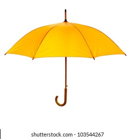 Yellow umbrella isolated against white background