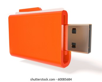yellow USB  box on white background isolated