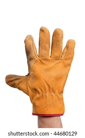 the yellow used gloves on hand