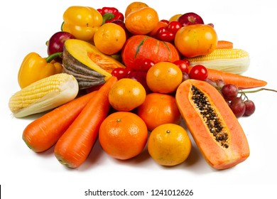 Yellow vegetable and fruit isolated white background
