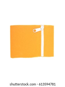 Yellow velveteen crystal pouch with zipper isolated on white background