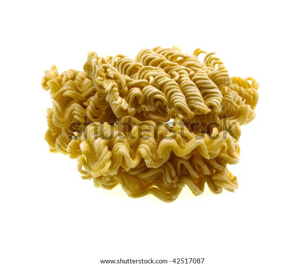 Yellow vermicelli isolated on a white background