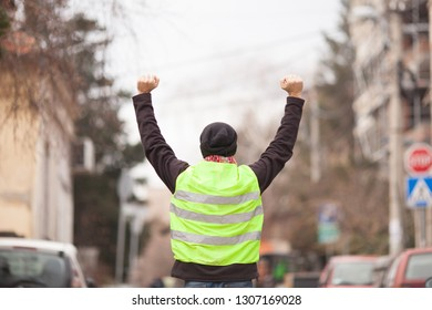 yellow vest protester on the street