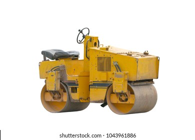 yellow vibratory roller compactor isolated on white background. Road roller is a engineering vehicle used to compactor soil, gravel, concrete and asphalt