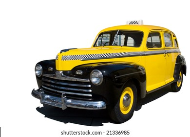 A yellow vintage New York taxi cab.