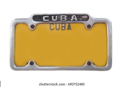 Yellow vintage vehicle registration plate on Cuba. Yellow license plate on white background, Isolated.