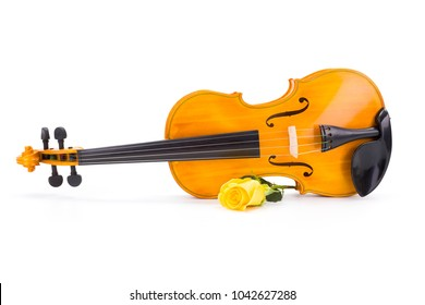 Yellow violin with rose on white background