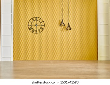 Yellow wall background with white door and black clock, lamp decor, room concept.