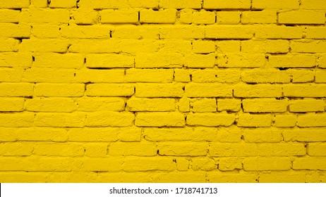 Yellow wall brick background texture image