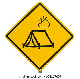 Yellow  warning sign, warning sign, lable, Yellow warning sign, Yellow sign Camping tent area, campground isolated on white background