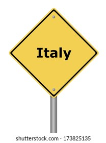 Yellow warning sign on white background with the text Italy