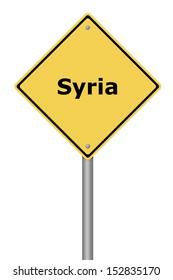 Yellow warning sign with the text Syria.