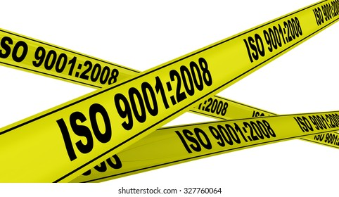 "Yellow warning tapes with inscription ""ISO 9001:2008"". Isolated"