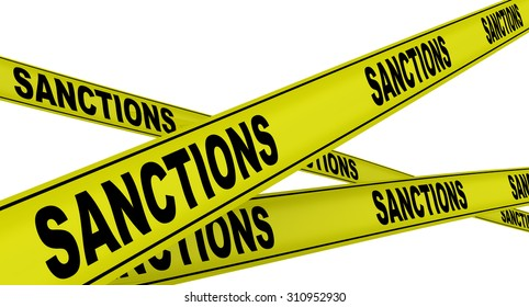 "Yellow warning tapes with inscription ""SANCTIONS"". Isolated"