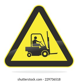 yellow watch out for forklift traffic sign