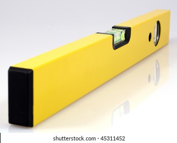 Yellow water level on white background.