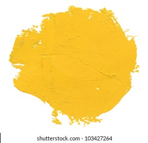 Yellow watercolor blob, isolated on white