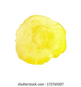 Yellow watercolor circle, design element