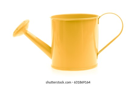 Yellow watering can isolated on white background