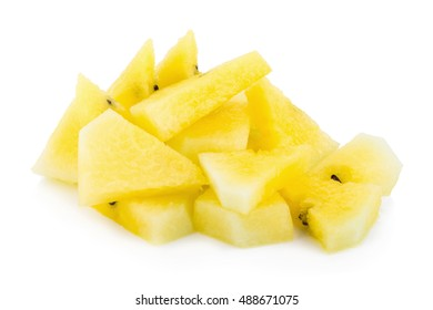 yellow watermelon isolated on white background.
