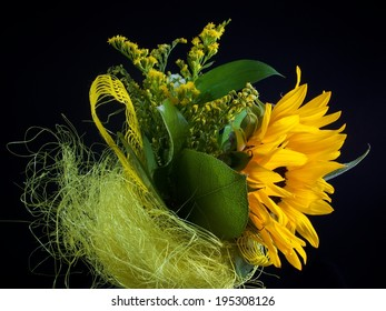 Yellow wedding colourful bouquet of sunflowers