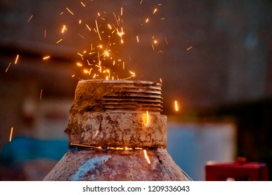 Yellow welding sparks around a construction site unique photo