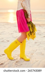 yellow wellies and yellow mimosa