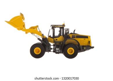Yellow Wheel Loader heavy machinery isolated on white background
