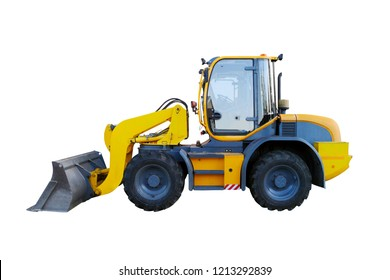Yellow wheel loader isolated on white. Yellow front loader. Loading shovel. Industrial vehicle. Pneumatic truck. Tractor front loader. Manufacturing equipment