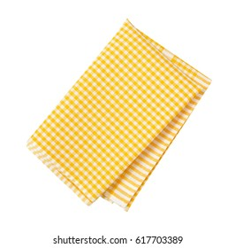 yellow and white checkered tea towel on white background