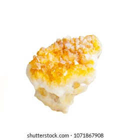 Yellow white citrine crystals on white background
