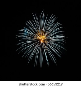 A yellow and white flower-like firework in the night sky