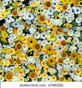yellow white paper flowers seamless background pattern