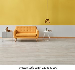 yellow and white wall home living room concept. Yellow armchair wooden table and chair with lamp decoration. Modern yellow wall background.