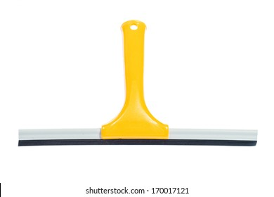 yellow window squeegee isolated on white