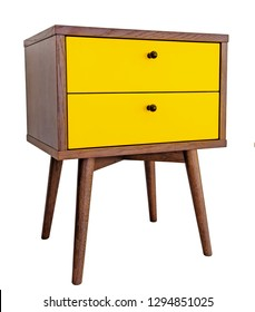 Yellow wood bedside table. Modern designer nightstand isolated on white background side view. cabinet with two drawers