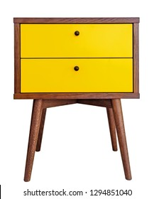 Yellow wood bedside table. Modern designer nightstand isolated on white background front view. cabinet with two drawers