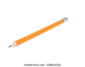 Yellow wood pencil isolated on white with clipping path