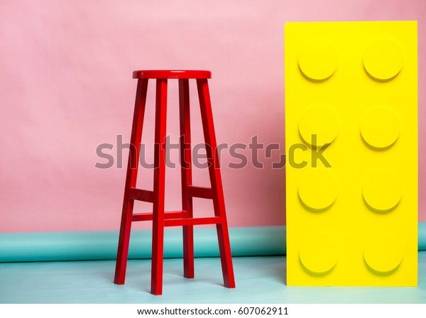 Brilliant Yellow Wooden Block Red Stool On Stock Photo Edit Now Ncnpc Chair Design For Home Ncnpcorg