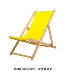 Yellow wooden folding chair isolated on white