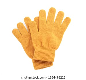Yellow woolen gloves on white background, flat lay. Winter clothes