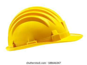 yellow worker helmet isolated on white.
