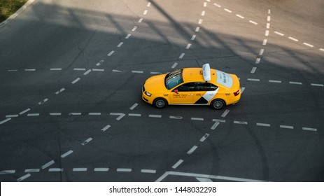 A yellow yandex taxi on the Moscow streets. 04.04.19