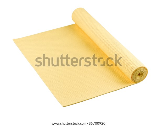 Yellow yoga mat nice for exercise at home or gym
