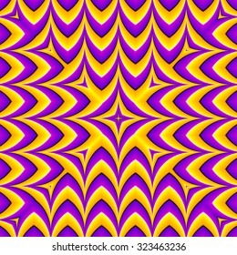 Yellow zigzags (optical expansion illusion). Seamless pattern.